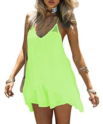 fec0a02d14cd Kingfung Women s Summer Casual Sundress Chiffon Sleeveless Tank Beach Shift  Dress(neon Green