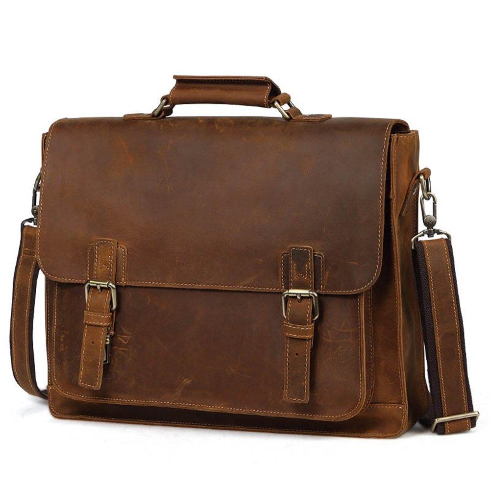 ヴィンテージスタイルクレイジーホースレザーラップトップブリーフケースハンドバッグノートブックトラベルメッセンジャートートクロスボディバッグ15インチファッション バッグ (色 : 褐色) B07MQF92K7 褐色