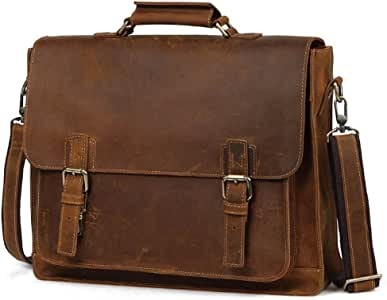 Color : Coffee Color XIAOPING Retro Style Crazy Horse Leather Scalable Multi-Function Computer Bag Shoulder Bag Briefcase Work Bag