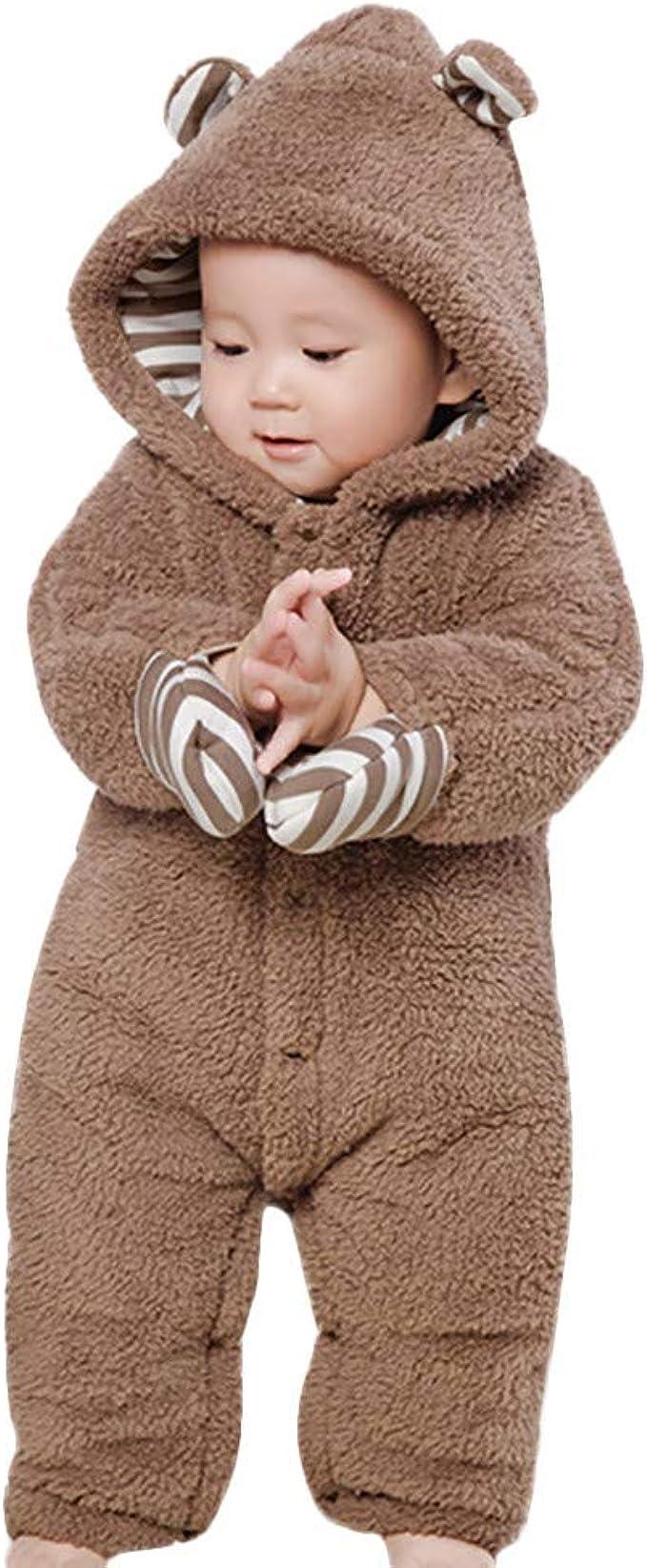 Ceguimos Newborn Baby Jacket Snowsuit Hooded Romper Jumpsuit Warm Fleece Cartoon Bear 0-12 Months