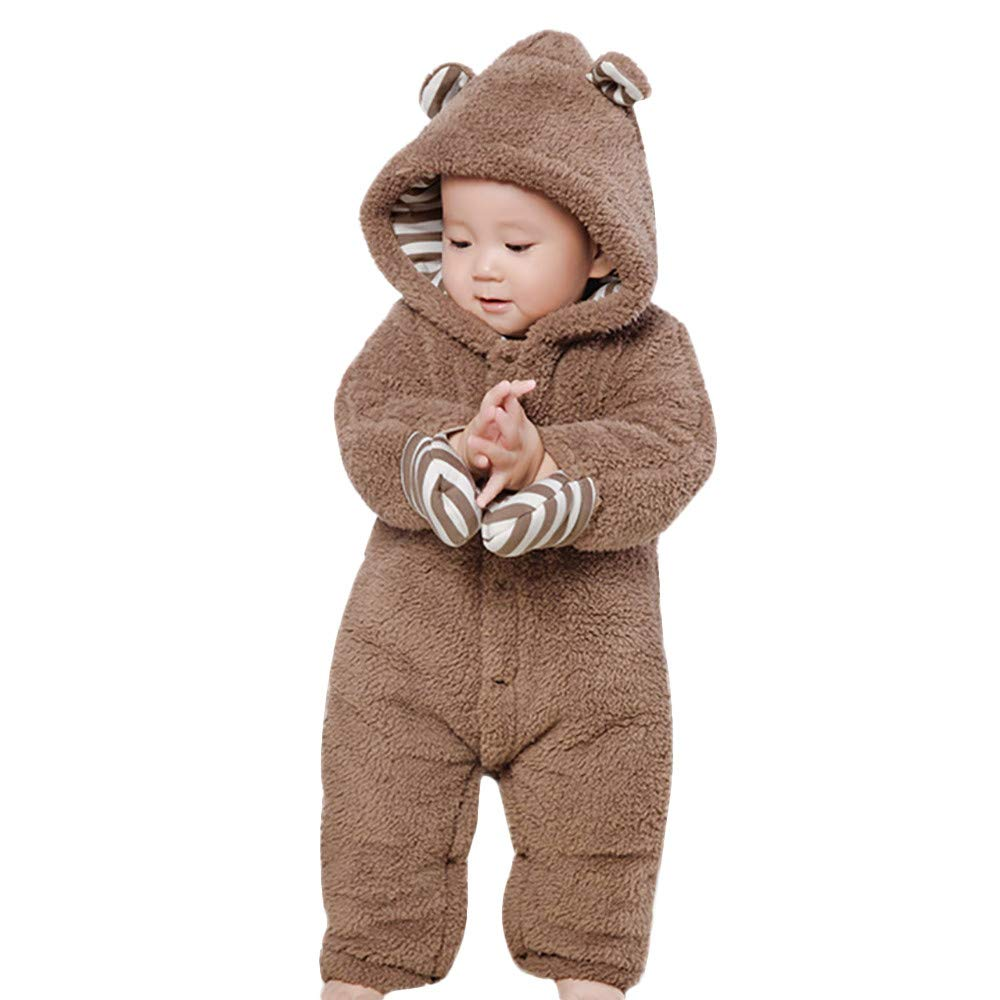 Fheaven (TM) Newborn Baby Boys Girls Cute Cartoon Autumn Long Sleeves Warm Thick Hooded Romper Jumpsuit (9-12 Months, Brown)