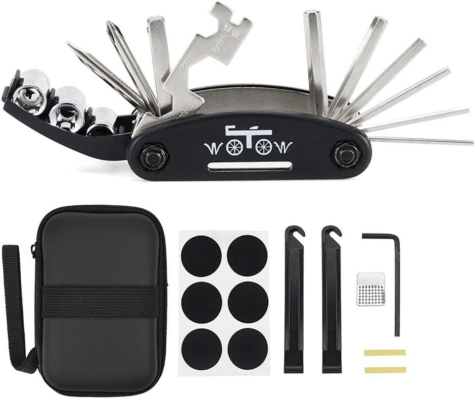 WOTOW Bike Repair Set Bag Bicycle Multi Function 16 in 1 Tool Kit Hex Key Wrench Tire Patch Lever Portable Handy Multi Tool Maintenance Fix Mini Set for Road Mountain Bikes (16 in 1) : Sports & Outdoors
