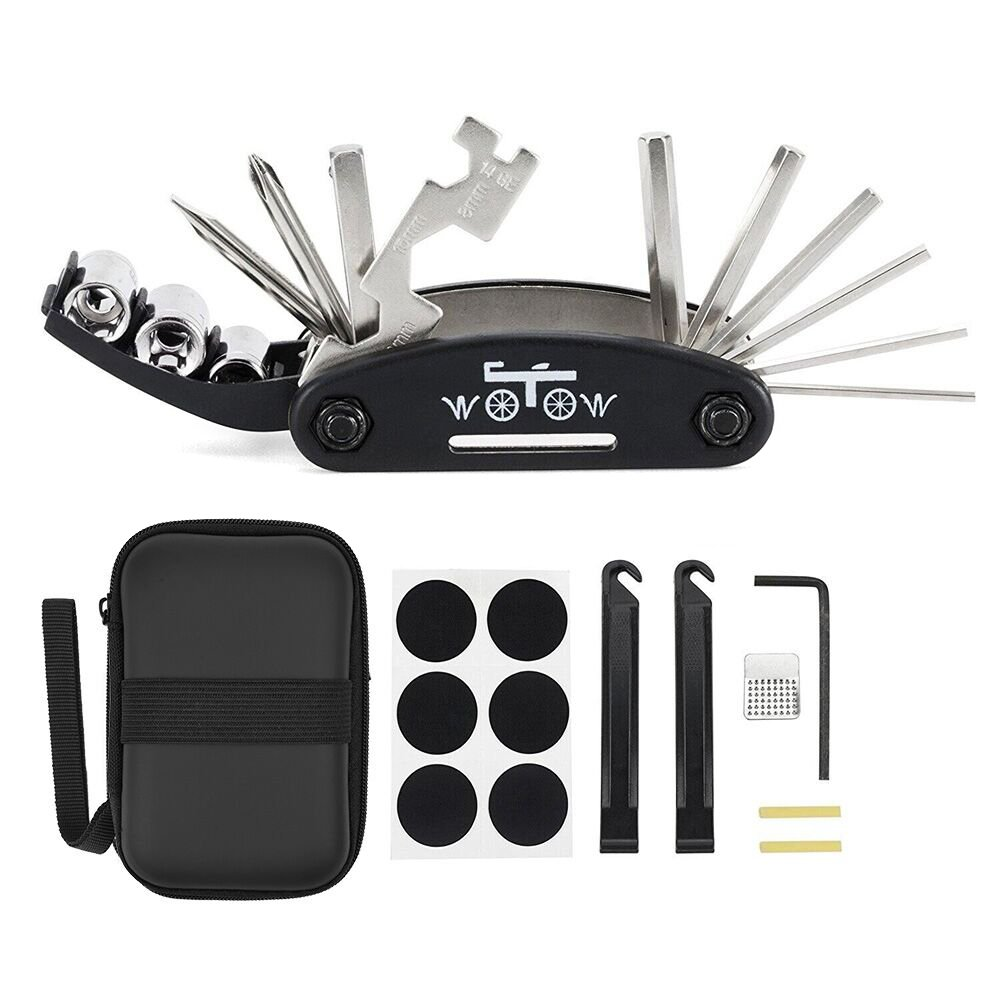 Bike Repair Tool, Bicycle Multi Function 16 in 1 Tool Kit Hex Key Wrench Tire Patch Lever /& Mini Portable Pump