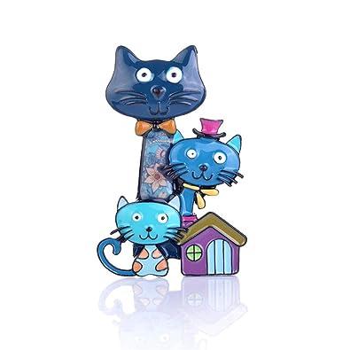 Amazon.com: XINCSLHF - Broche con forma de gato y dibujos ...
