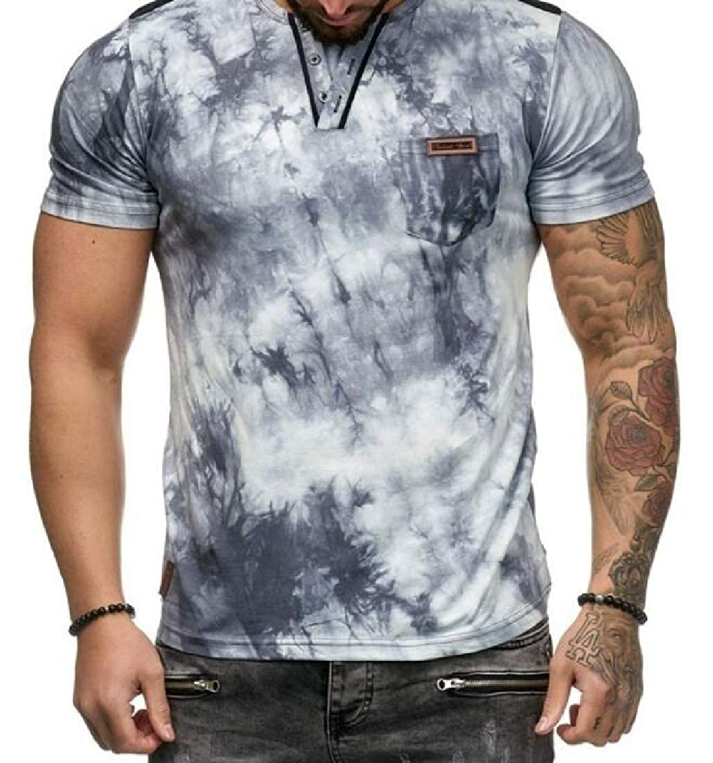 Alion Men Bodybuilding Short Sleeve T Shirt Muscle Fitness Tee Tops