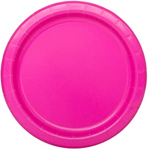 "Unique 99134 Tableware Neon Pink Dessert Plates, 20ct, 6.875"""