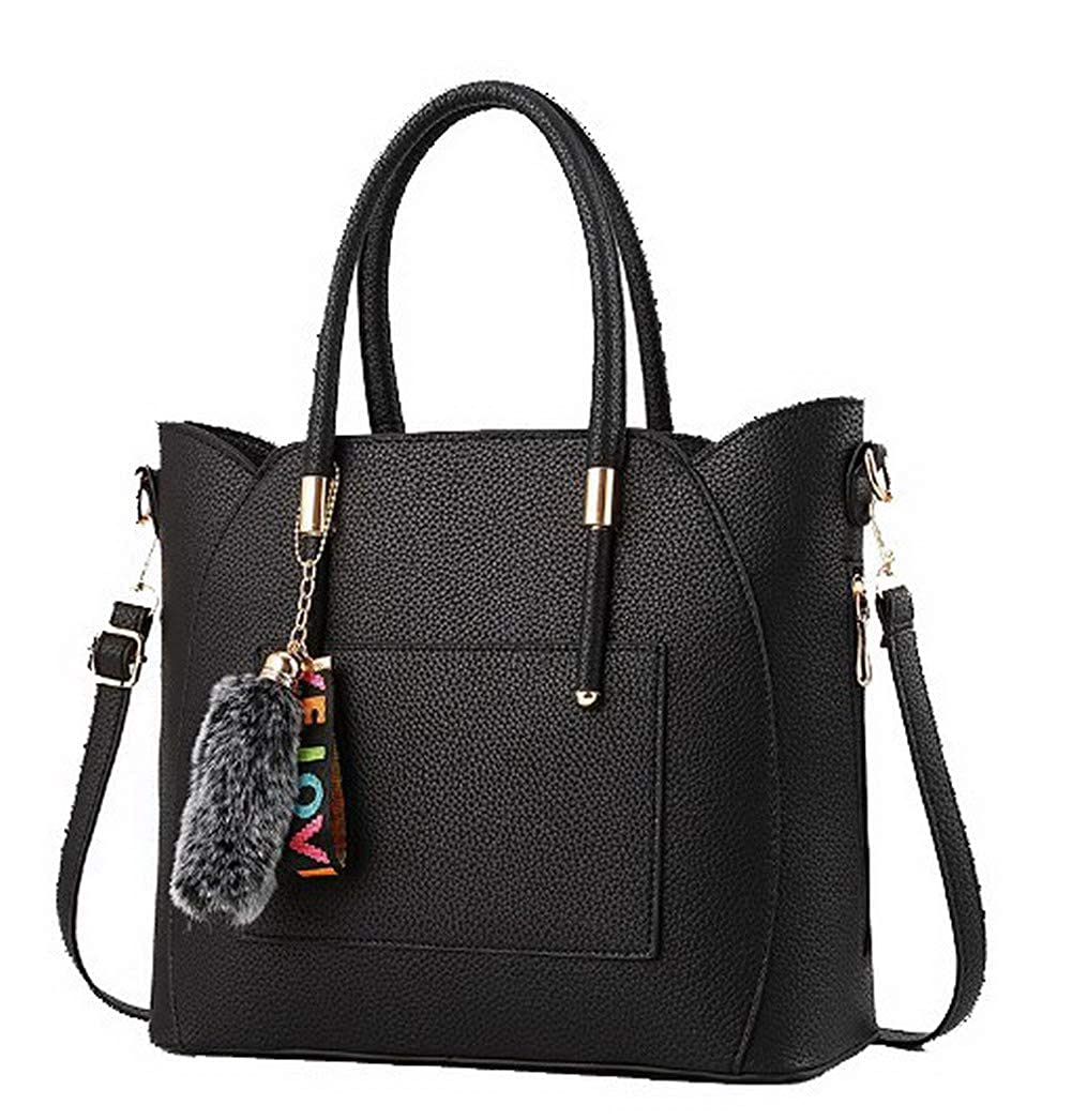 Black WeiPoot Women's Pu Tote Bags Shopping PomPoms Crossbody Bags,EGHBG182496