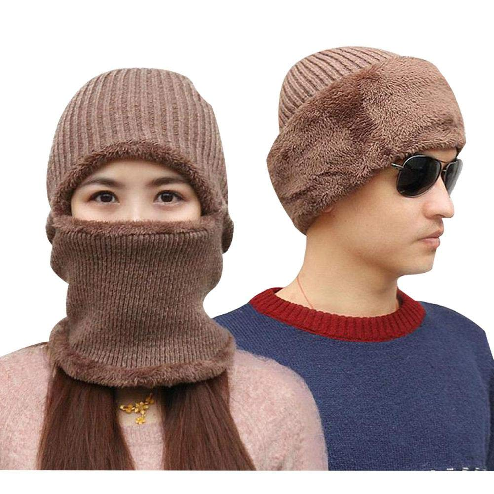 Multi Functional Knit Cap, Winter Women Men Balaclava Beanie with Thick Mask, Wool Adult Warm Knitted Windproof Ski Hats Hook.s