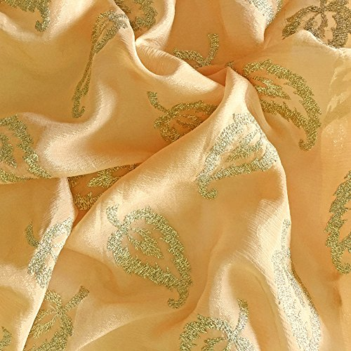 Peach Art Silk Chinon Fabric - Leaf Motifs with Golden Embellishments, 44inches – Premium Fabric for Crafts and Sewing