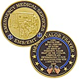 Hero's Valor Emergency Medical Services EMS/EMT Challenge Coin with Prayer 1-Pack (Single Coin)