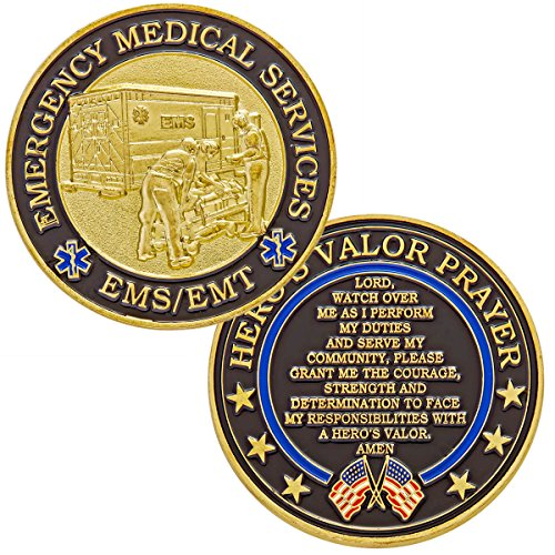 Hero's Valor Emergency Medical Services EMS/EMT Challenge Coin with Prayer 1-Pack (Single Coin) by Hero's Valor