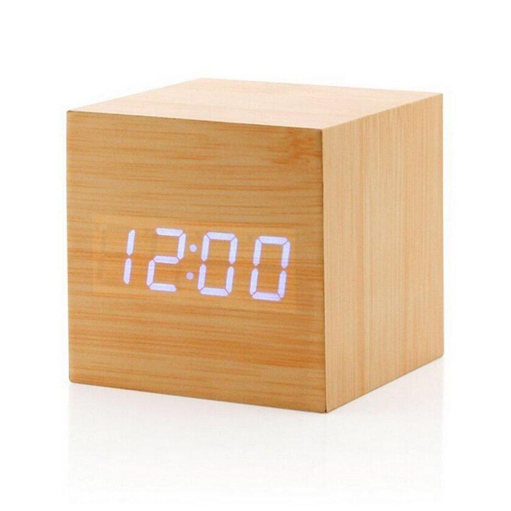 Highdas Simple Mode Carr¨¦ Moderne En Imitation Sound Control USB/AA La batterie Powered En Imitation LED Clock Alarme Digital Horloge de bureau with Thermometer Calendar Auto Brightness Ajustement E150911HS464-20