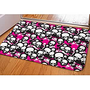 HUGSIDEA Pink Skull Soft Flannel Anti-slip Floor Mat For Bedroom Living Room Kitchen Bathroom Home Decor