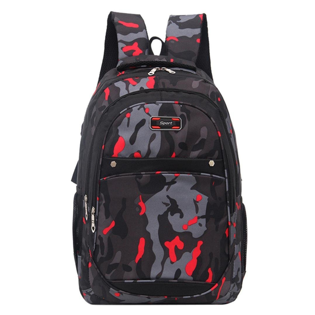 Anxinke Unisex Students Camouflage Schoolbag Sports Packsack Oxford Hiking Backpack Bag (Red)