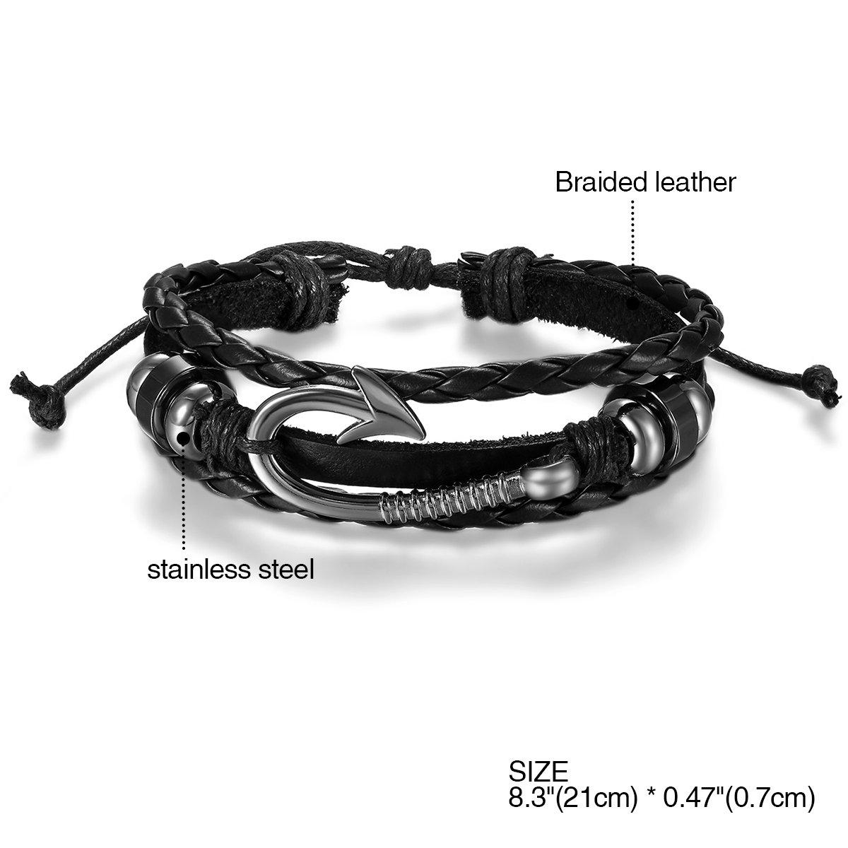 Cupimatch 6PCS Adjustable Alloy Nautical Inspired Fish Hook Clasp Nylon Wrap Bracelet on Nylon Ropes for Men Women