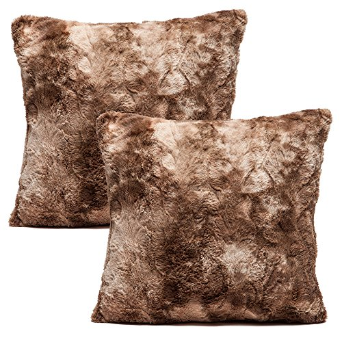 Chanasya Super Soft Fuzzy Faux Fur Cozy Warm Fluffy Chocklate Fur Throw Pillow Cover Pillow Sham - Chocklate Pillow Sham 18x18 Inches(Pillow Insert Not Included) Waivy Fur Pattern 2-Pack (Fur Shams Faux)