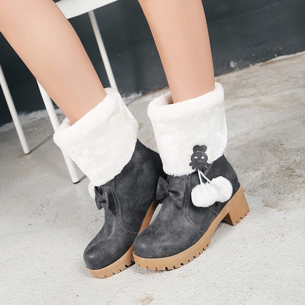 XQY Stiefel Für Damen Herbst Herbst Herbst Und Winter Mit Flachem Boden Große Wadenstiefel Warme Anti-Skischuhe Für Damen 4e8faa