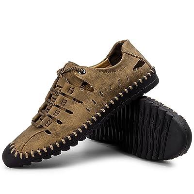 Moodeng Men's Sandals Leather Breathable Close-Toe Sandals Non-Slip Summer Adjustable Beach Fisherman Slippers Outdoor Khaki | Sport Sandals & Slides