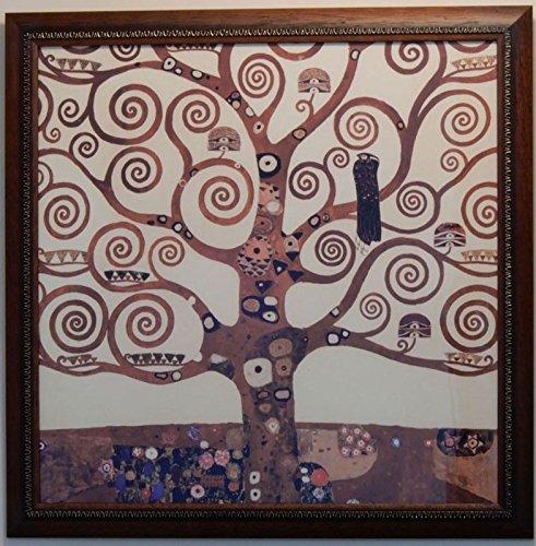 イタリア製 JHAアンティークフレーム 世界の名画 クリムト(生命の木)&ブラウンゴールドフレーム W450×H450 IP-89 額絵 絵画 ポスター B018PFK9F2