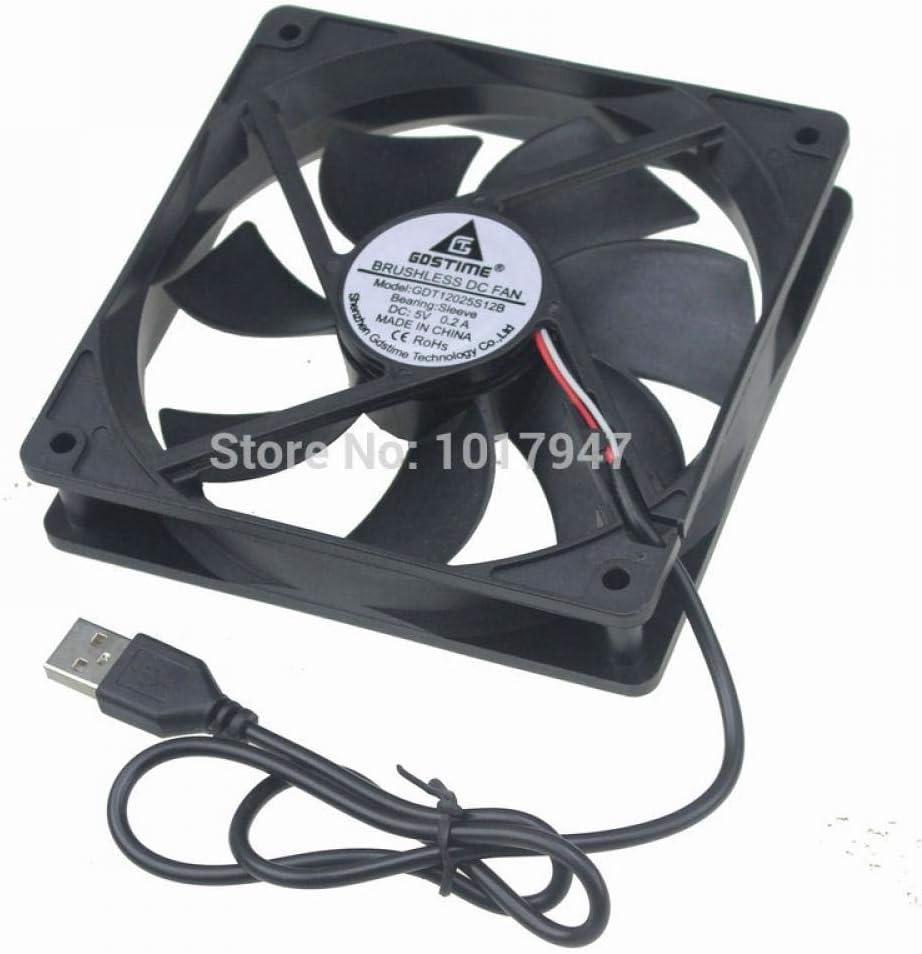 2Pcs Lot Gdstime 5V USB 1500rpm 0.2a 12cm 120mm 120mm X 25mm PC Fan Cooler Heatsink Exhaust