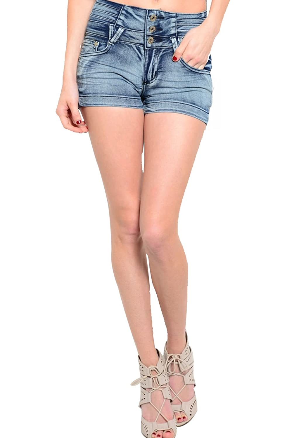 2LUV Women's Embroidered Mid-Rise Denim Shorts