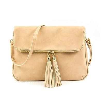 EMPERIA Women s Fold Flap Tassel Zipper Leather Crossbody Bag Purse ... 88d79731a5980