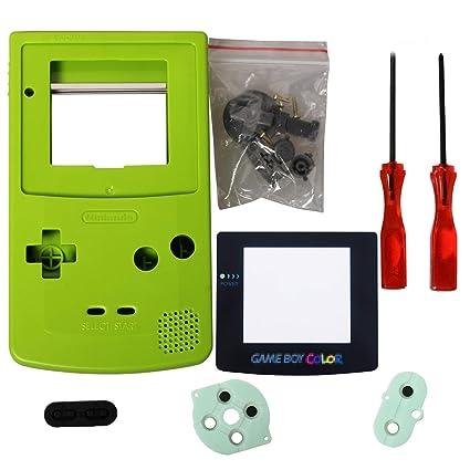 eJiasu Reemplazo Completo Reemplazo de Carcasas Shell Pack Reemplazo para Nintendo GBC Gameboy Color (Caja verde con lente y destornillador)