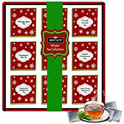 The Boston Tea Company Premium Teas Variety Sampler Pack for Black & Rooibos 6 of Each Flavor 9 Varieties (54-Count)