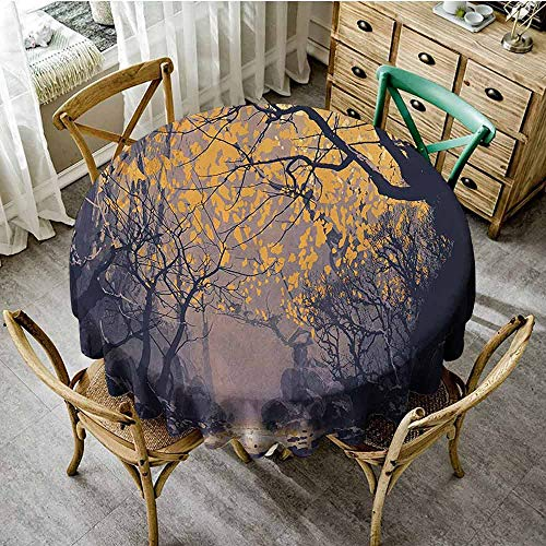 pad Round Tablecloth Fantasy Art House Decor,Autumn Beech Birch Branches with River Creek with Rocks Scary Art,Mauve Yellow Table Cover Diameter - Desk Beech Inch 36