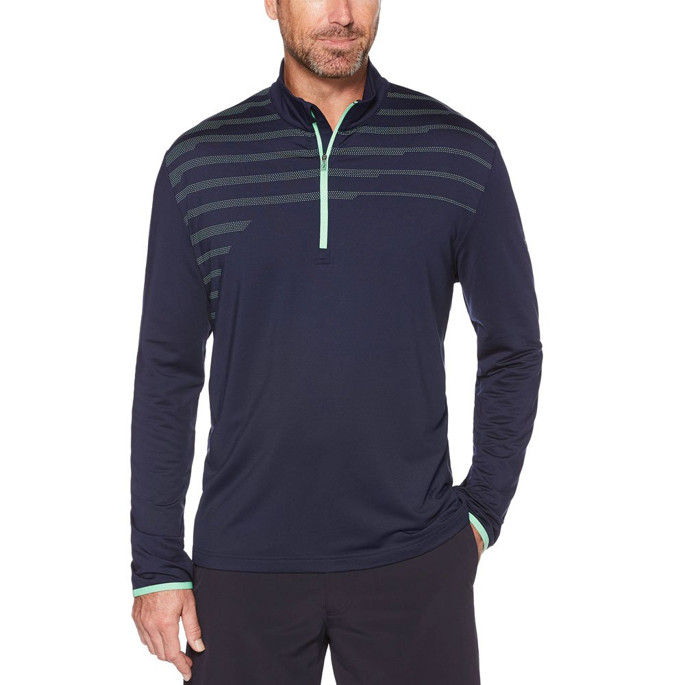 Callaway Men's Opti-Therm Long Sleeve 1/4 Zip Chest Print Knit Jacket, Small, Peacoat