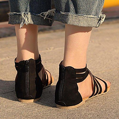 Léger Romain Sandales Flannelette Plat Poids Décontractée Femmes Zippered Jamron Strappy Tongs Noir 05x6CnqXw