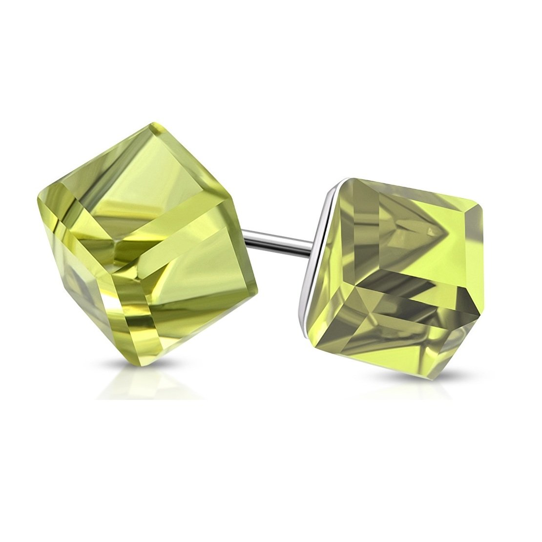 Stainless Steel Stud Earrings with Cube Olivine CZ pair