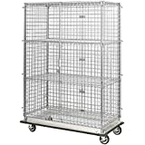 """24"""" Deep x 60"""" Wide x 69"""" High Mobile Chrome Dolly Base Security Cage with 3 Interior Shelves"""