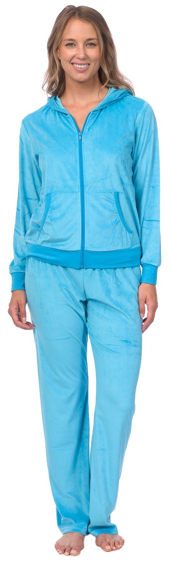 Pink Lady Womens Soft Velour Zip Hoodie and Bottoms Lounge Tracksuit (Cyan Blue, M)