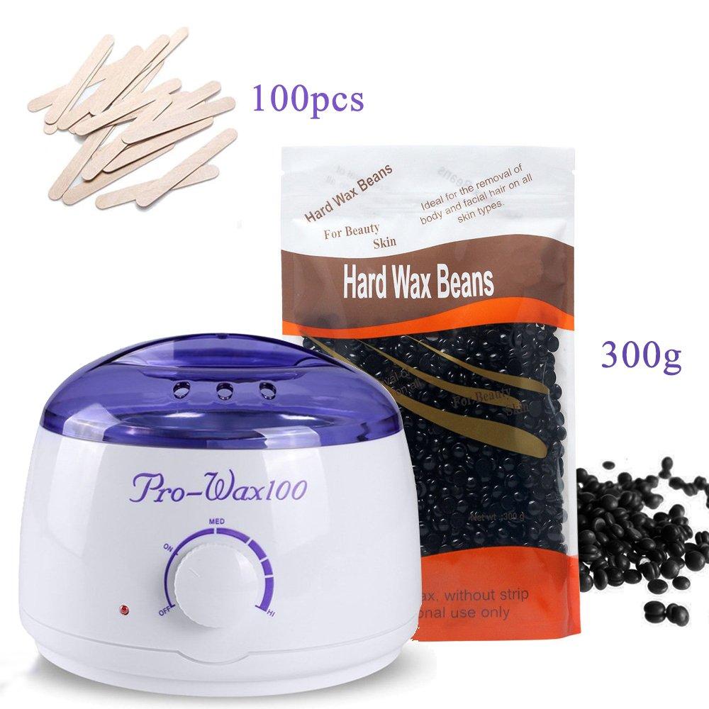 Dlife Wax Warmer Heater Machine + 300g Black Waxing Hard Beans + 100pcs Wax Applicator Wood Sticks Set FI0008P