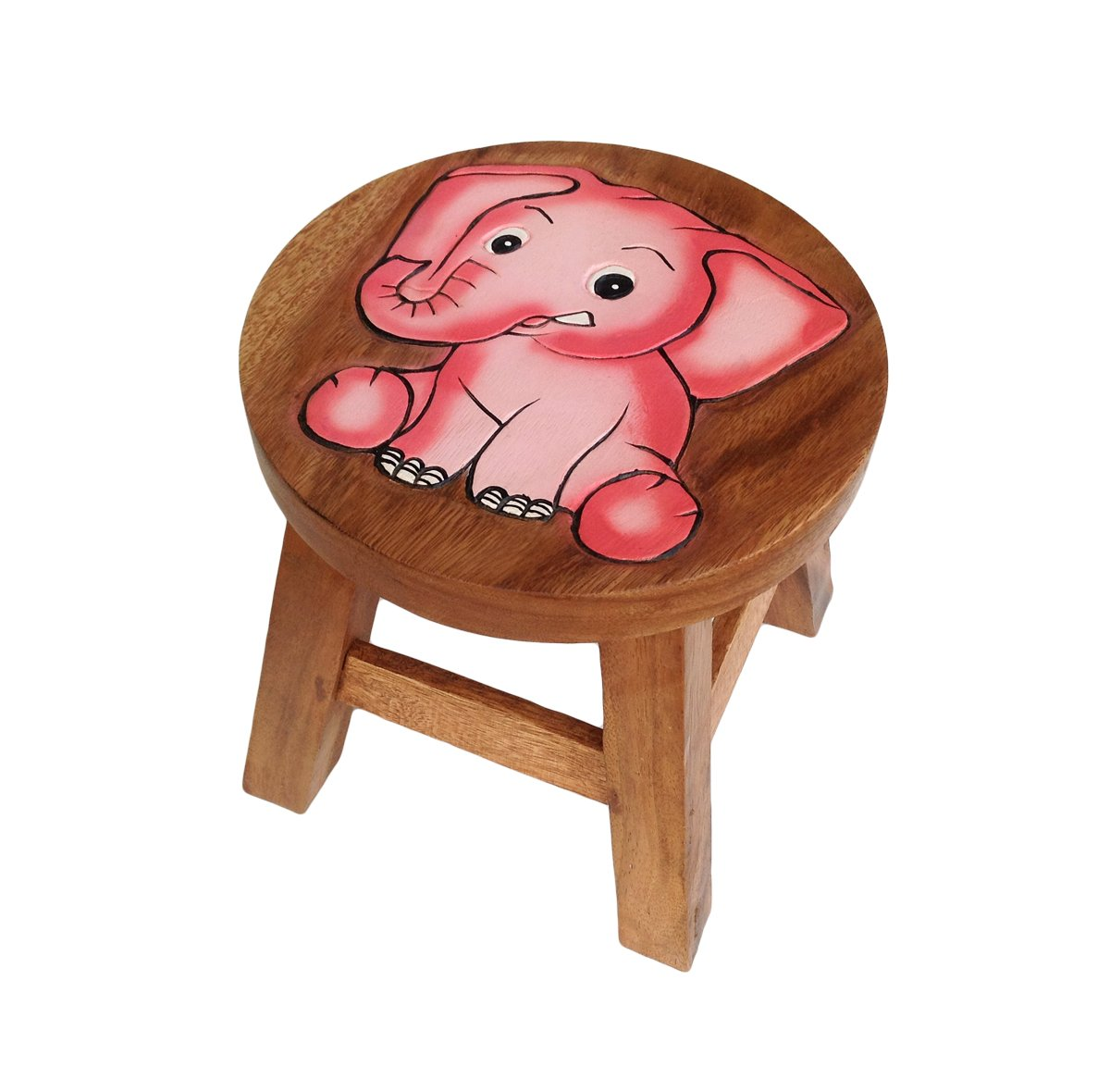 Child Seat Solid Wood Stool for Kids ~ Small Chair for Children by Collumino (Blue Elephant) Collumino®