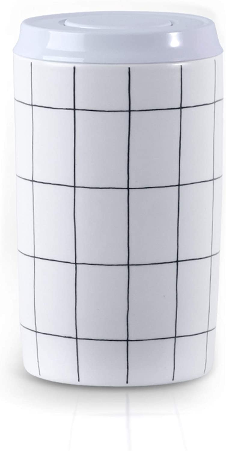 SIDUCAL Container with lid - Airtight Ceramic Food Storage for Serving Coffee, Sugar, Cookies, and More- White with Black Stripes Spices 7.3inch x 4.4inch -White with Black Stripes