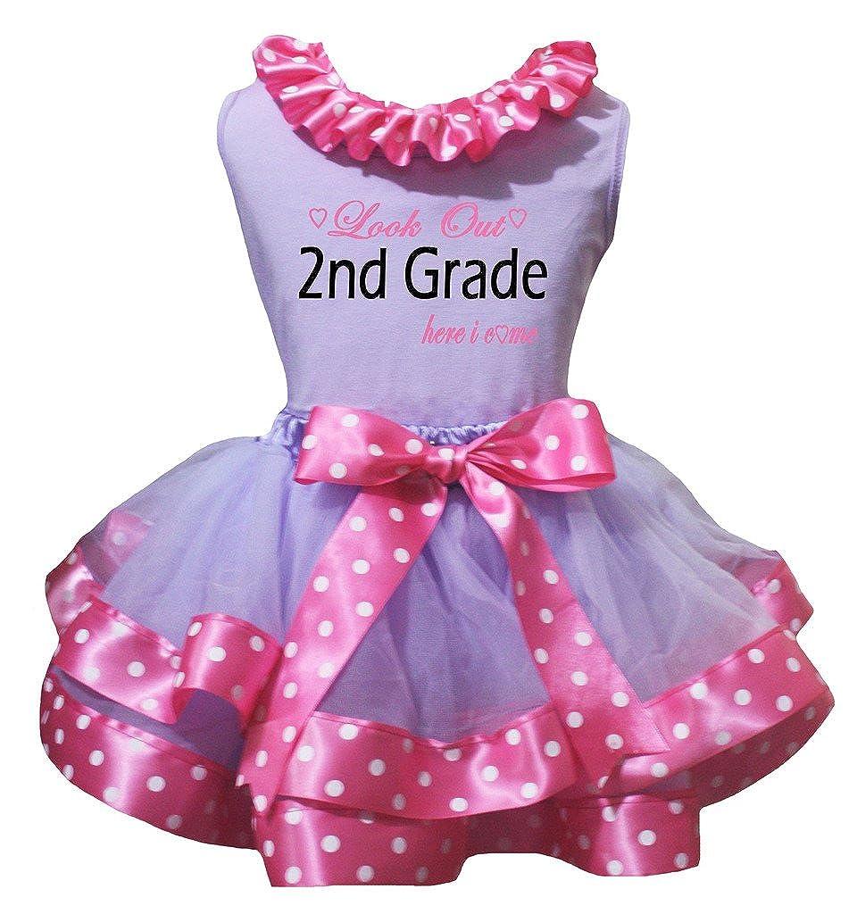 Petitebella 2nd Grade Lavender Shirt Pink White Dots Petal Skirt Nb-8y