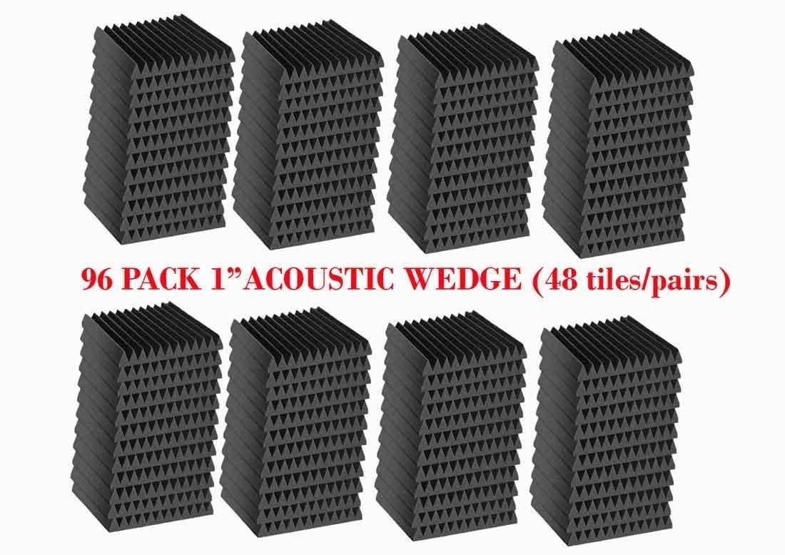 96 Pack Acoustic Panels Studio Foam Wedges 1'' X 12'' X 12'' by Mybecca (Image #3)