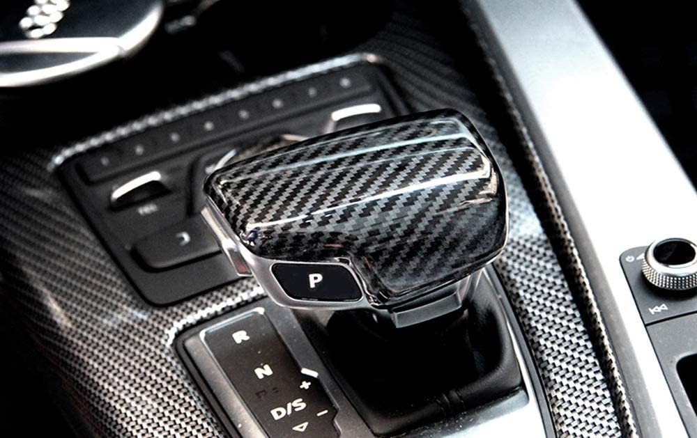 iJDMTOY Glossy Black Carbon Fiber Pattern Shift Knob Cover Shell Compatible With 2017-up A4 A5 S5 RS5 Q7 etc 2018-up Q5