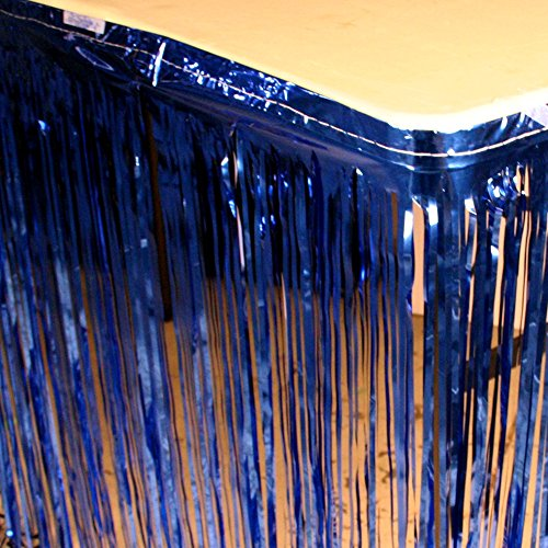 Table Skirt in Royal Blue Metallic Color