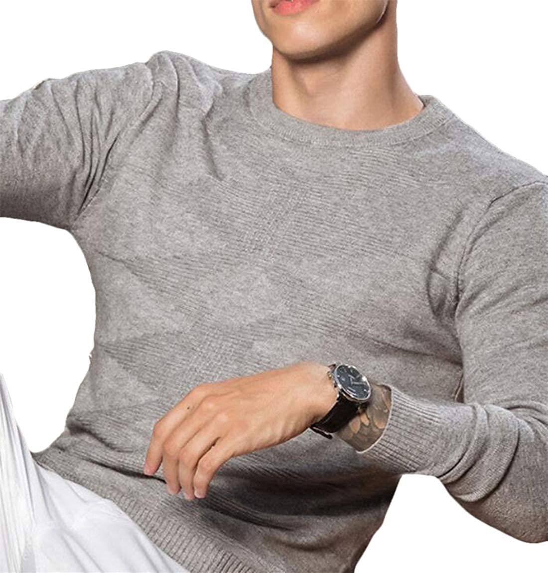 Domple Mens Casual Crewneck Soft Slim Knitted Pullover Long Sleeve Rhombus Sweater