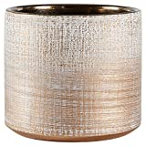 "Rivet Rustic Textured Stoneware Planter, 5""H, Bronze"