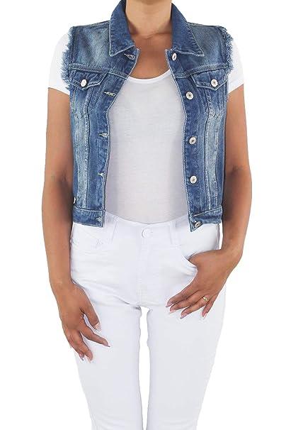 Jeansweste Stretch Tailliert Ärmellos Damen Blau Kurz Jacke Bolero Weste Denim Fransen Jeans Sotala Slim tCBdQxshr