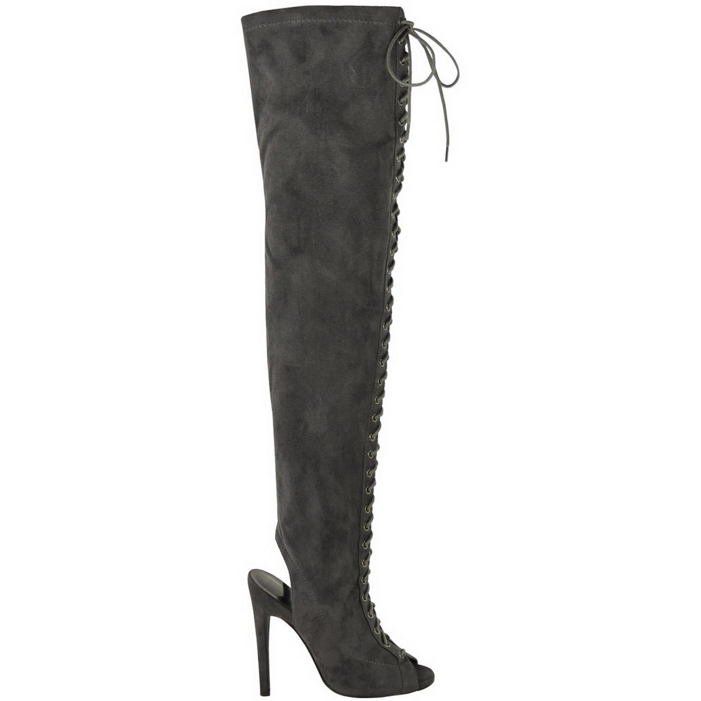 e8362305e21 Womens Ladies Sexy Thigh HIGH Stretch Over Knee LACE UP Stiletto Heel Boots  Size  Amazon.co.uk  Shoes   Bags