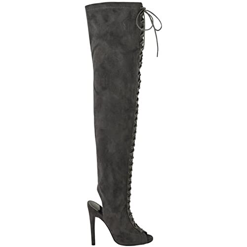 889bc7f2167 Womens Ladies Sexy Thigh HIGH Stretch Over Knee LACE UP Stiletto Heel Boots  Size