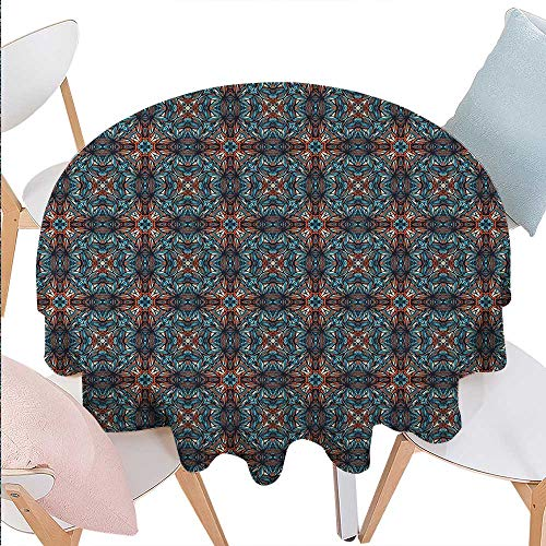 BlountDecor Ethnic Patterned Round Tablecloth Abstract Funky Floral Mixed Tones with Traditional Effects Shabby Chic Tribal Design Dust-Proof Round Tablecloth D60 (Funky Embroidery Designs)