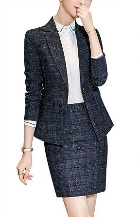 Amazon Com Women S Formal Office Business Suit Set Slim Work Suits For Women Business Women Suits Blazer Jacket Pant Skirt Clothing