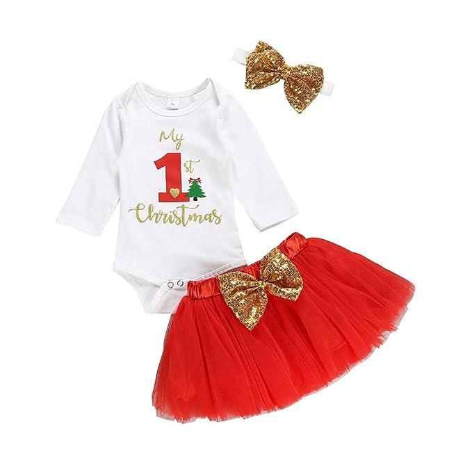 Arelead My 1st Christmas Disfraz Navidad Bebe Niña Recién ...