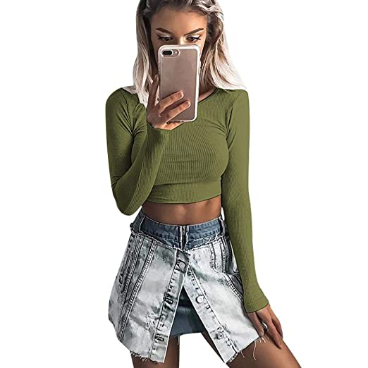 9fa805f691ccdd Rambling Women Long Sleeve Sexy Slim Tight Elastic Rib-Knit Crop ...